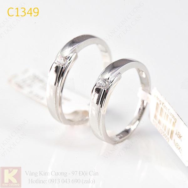 Nhẫn cưới kim cương italy 18k C1349