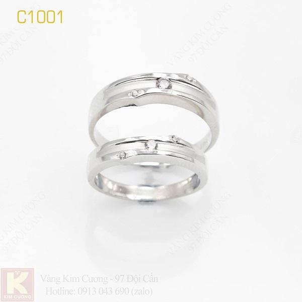Nhẫn cưới vàng trắng italy 18k C1001