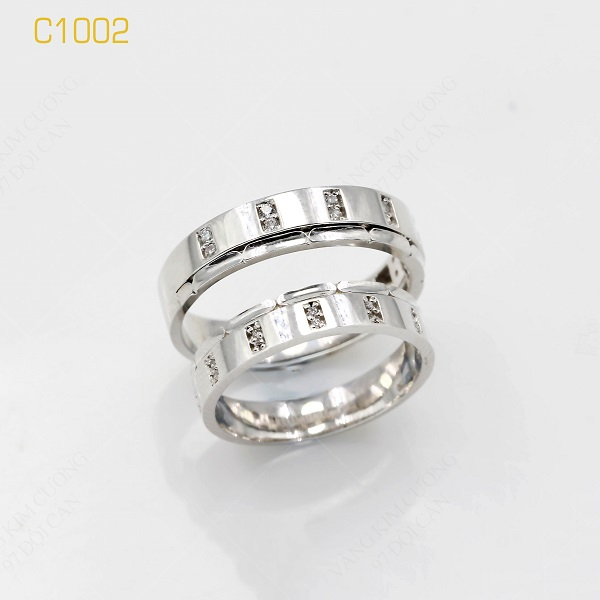 Nhẫn cưới vàng trắng italy 18k C1002