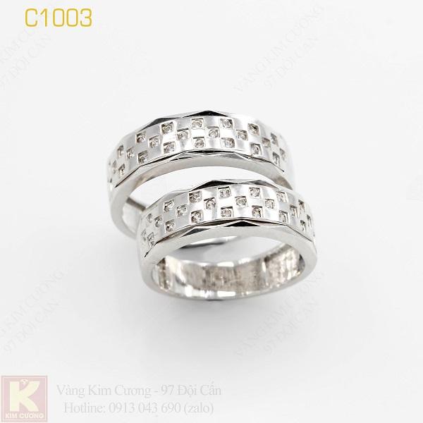 Nhẫn cưới vàng trắng italy 18k C1003