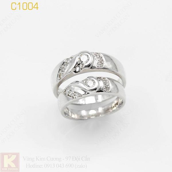 Nhẫn cưới vàng trắng italy 18k C1004
