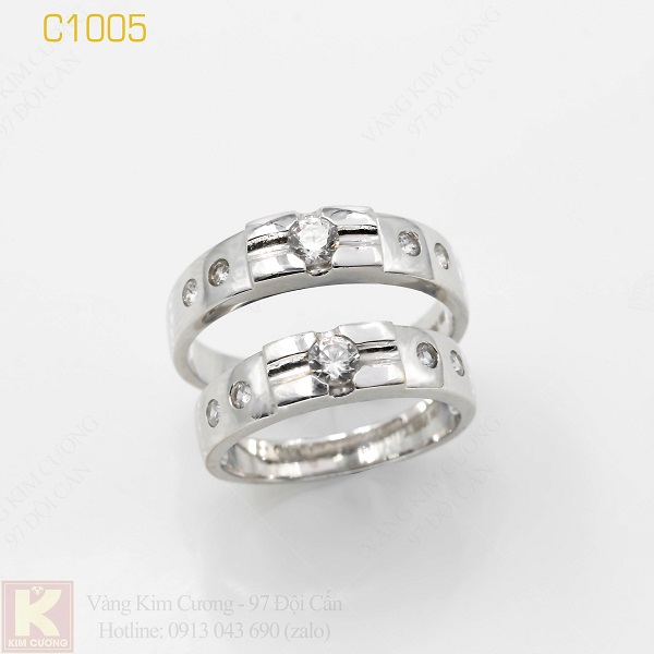Nhẫn cưới vàng trắng italy 18k C1005