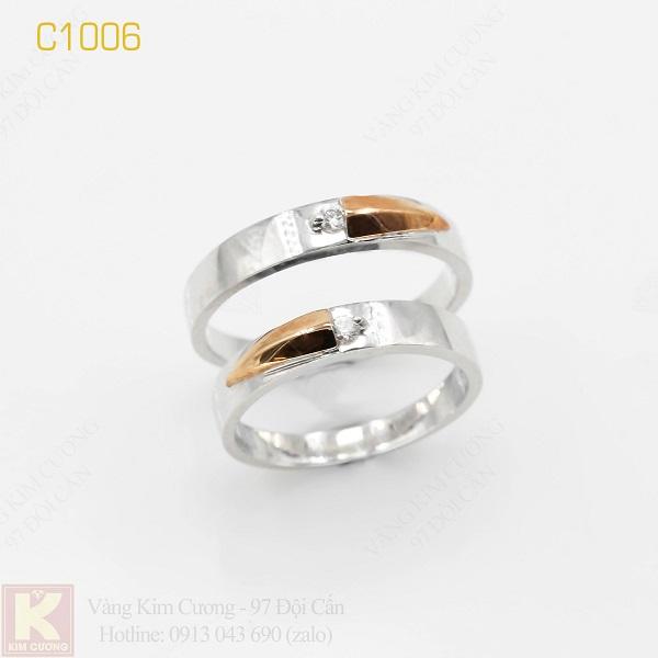 Nhẫn cưới vàng trắng italy 18k C1006