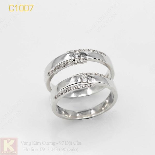 Nhẫn cưới vàng trắng italy 18k C1007