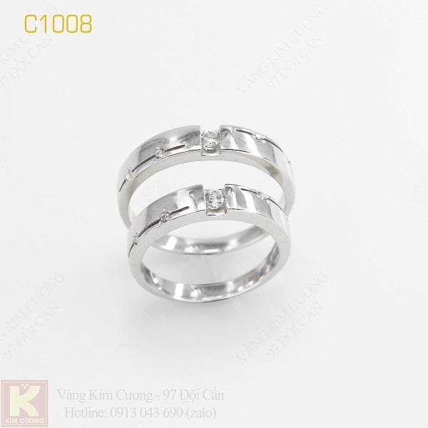 Nhẫn cưới vàng trắng italy 18k C1008