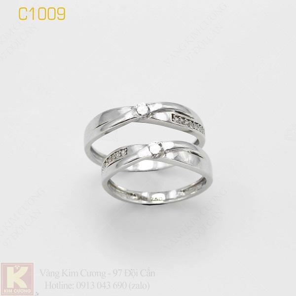 Nhẫn cưới vàng trắng italy 18k C1009