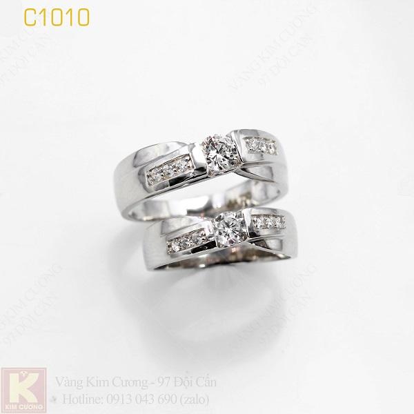 Nhẫn cưới vàng trắng italy 18k C1010