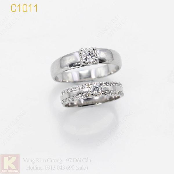 Nhẫn cưới vàng trắng italy 18k C1011