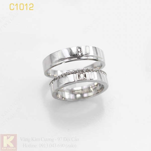 Nhẫn cưới vàng trắng italy 18k C1012