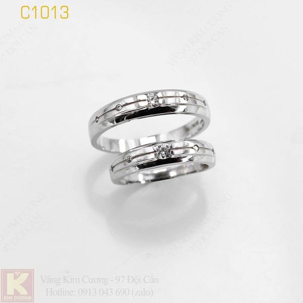 Nhẫn cưới vàng trắng italy 18k C1013