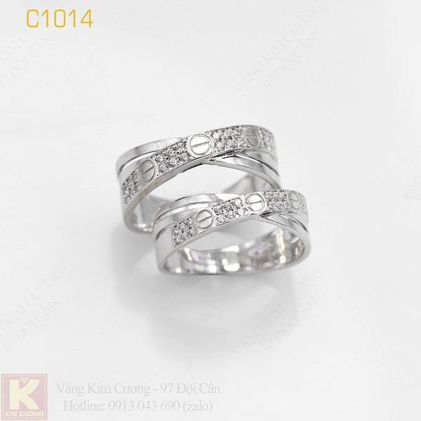 Nhẫn cưới vàng trắng italy 18k C1014