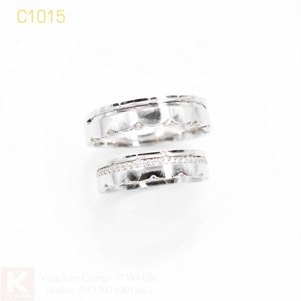 Nhẫn cưới vàng trắng italy 18k C1015