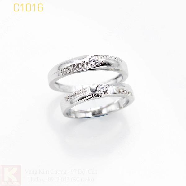Nhẫn cưới vàng trắng 18k italy C1016