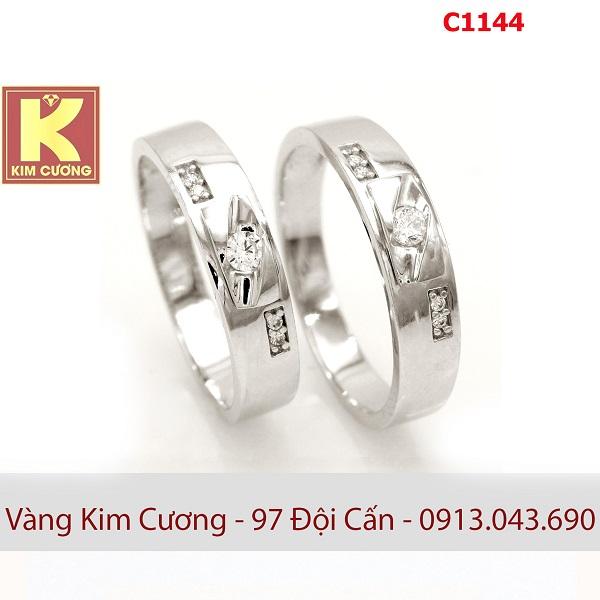 Nhẫn cưới vàng trắng 10k korea C1144
