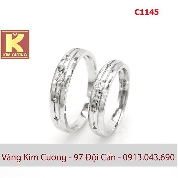 Nhẫn cưới vàng trắng italy 18k C1145