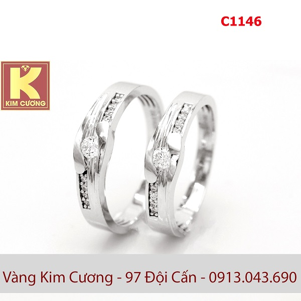 Nhẫn cưới vàng trắng C1146
