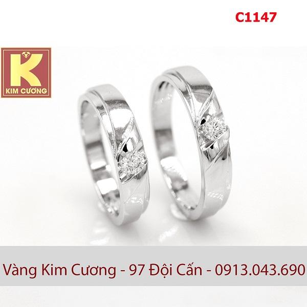 Nhẫn cưới vàng trắng 10k korea C1147