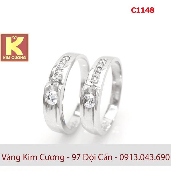 Nhẫn cưới vàng trắng 14k C1148