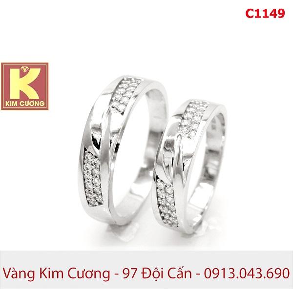 Nhẫn cưới vàng trắng 10k korea C1149