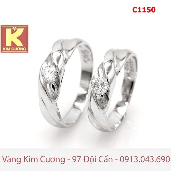 Nhẫn cưới vàng trắng 14k C1150
