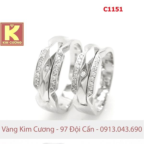 Nhẫn cưới vàng trắng 14k C1151
