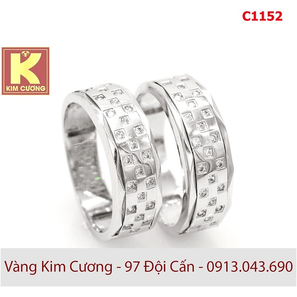 Nhẫn cưới vàng trắng 14k C1152