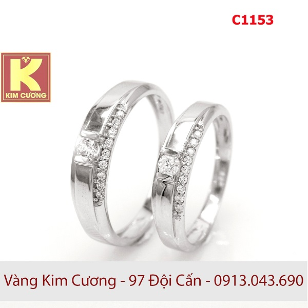 Nhẫn cưới vàng trắng C1153