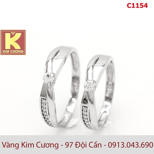 Nhẫn cưới vàng trắng 14k C1154