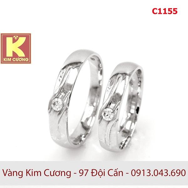Nhẫn cưới vàng trắng 14k C1155