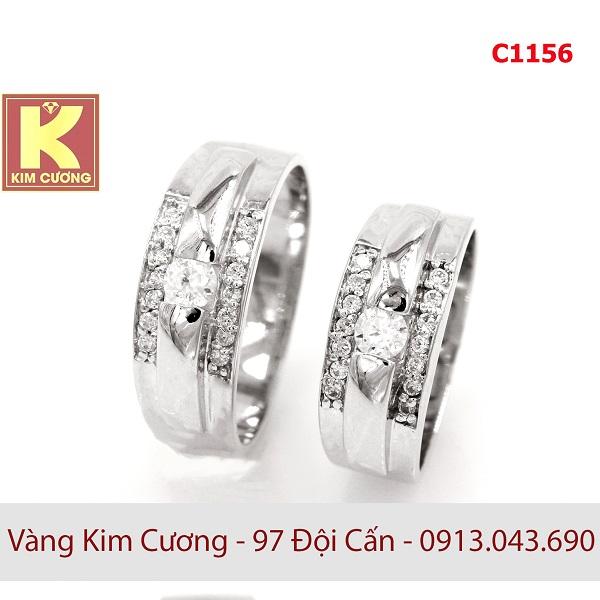 Nhẫn cưới vàng trắng 14k C1156