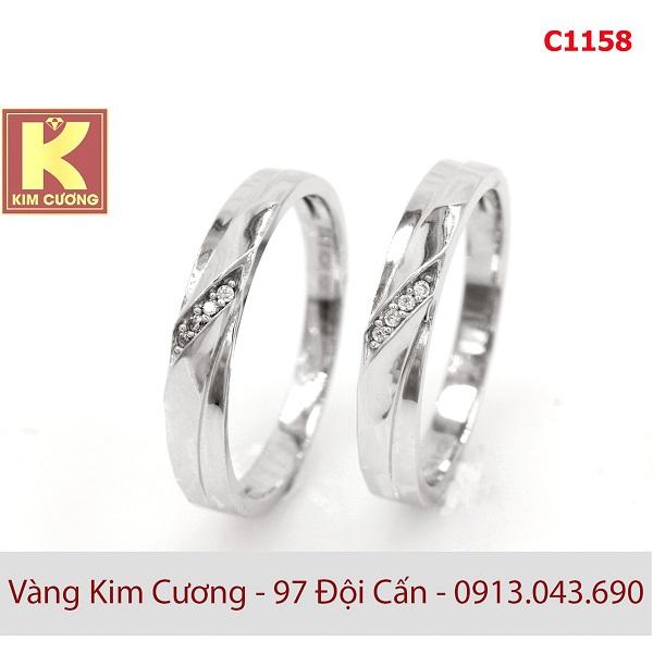 Nhẫn cưới vàng trắng 10k korea C1158