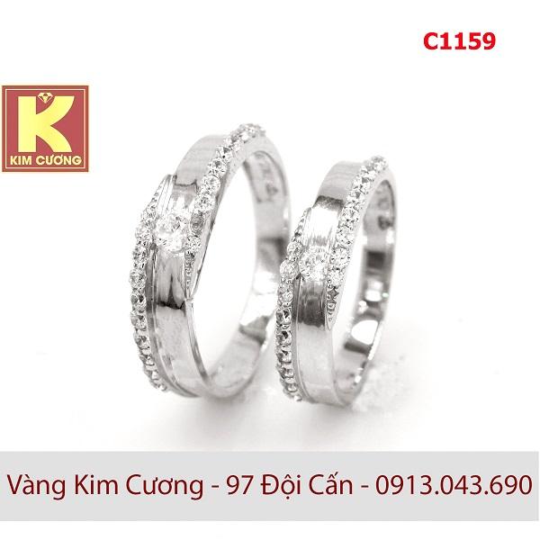 Nhẫn cưới vàng trắng italy 18k C1159