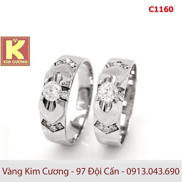 Nhẫn cưới vàng trắng 14k C1160