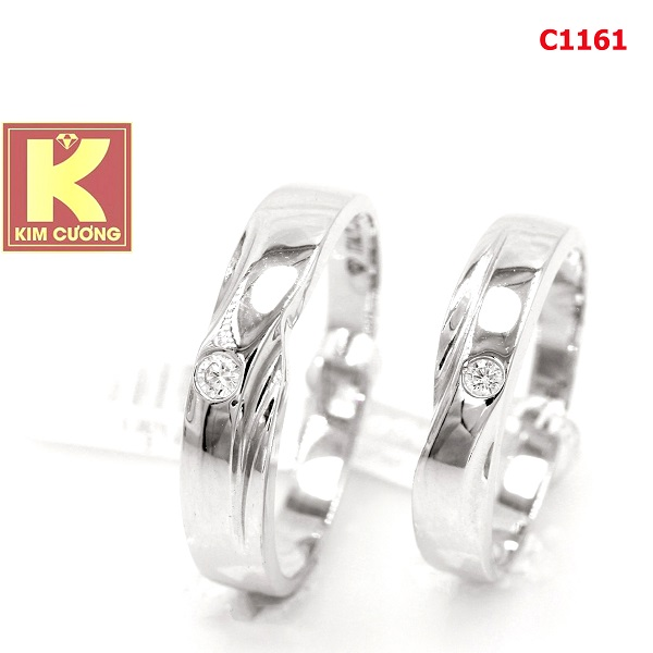 Nhẫn cưới vàng trắng 14k C1161