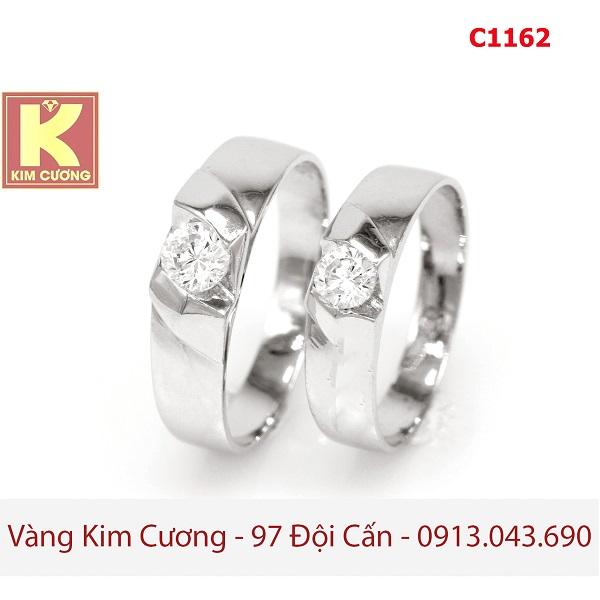 Nhẫn cưới vàng trắng 14k C1162