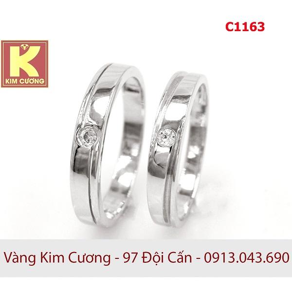 Nhẫn cưới vàng trắng 14k C1163