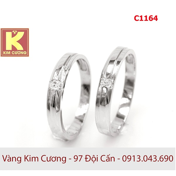 Nhẫn cưới vàng trắng 10k korea C1164