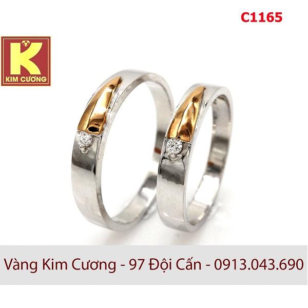 Nhẫn cưới vàng trắng C1165