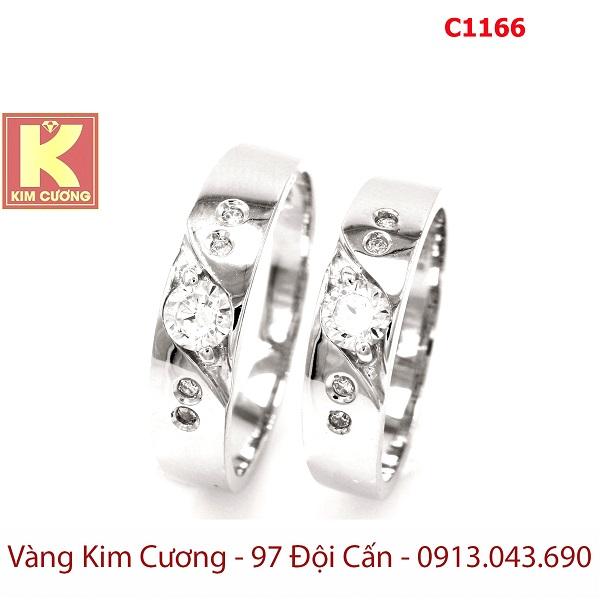 Nhẫn cưới vàng trắng 18k italy C1166