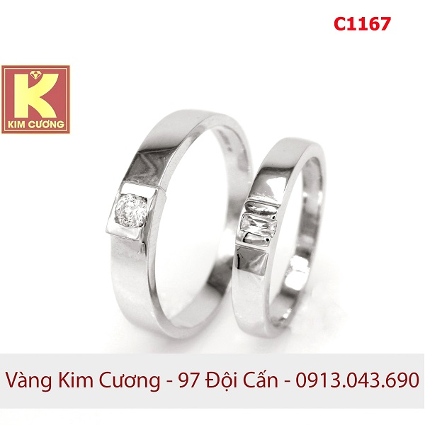 Nhẫn cưới vàng trắng 14k C1167