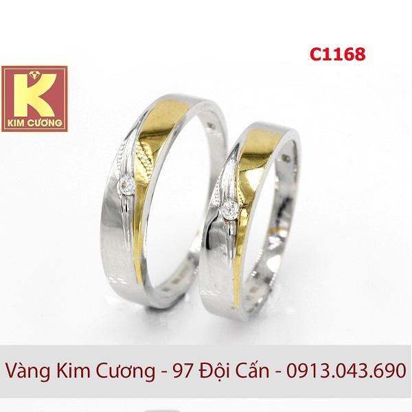 Nhẫn cưới vàng trắng 14k C1168