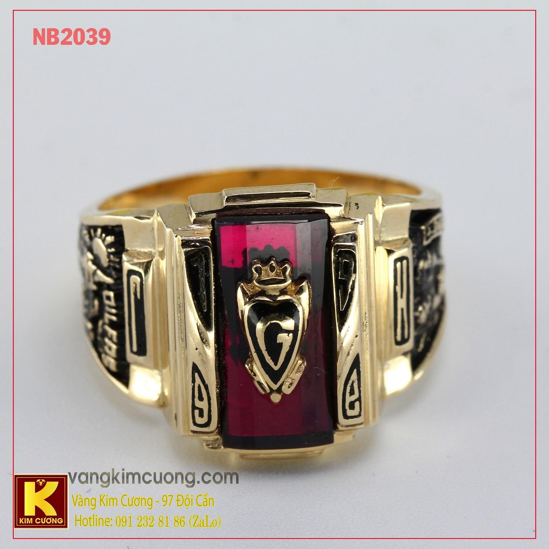 Nhẫn nam đá quý Garnet phong thủy 10k NB2039