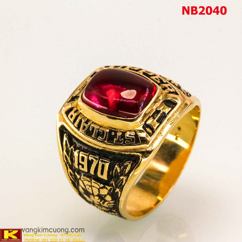 Nhẫn nam đá quý ruby phong thủy 10k NB2040