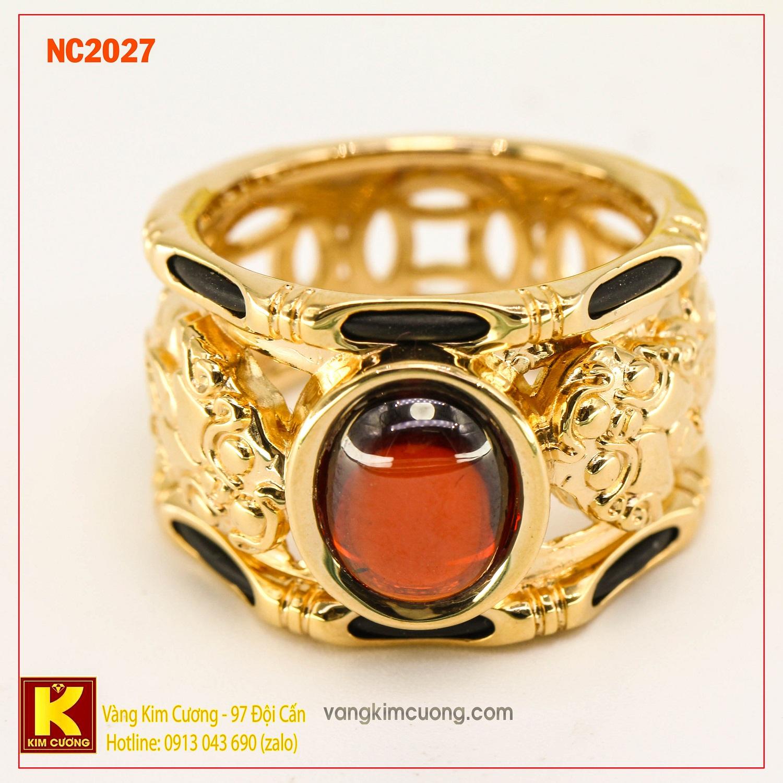 Nhẫn nam đá quý Garnet phong thủy 16k NC2027
