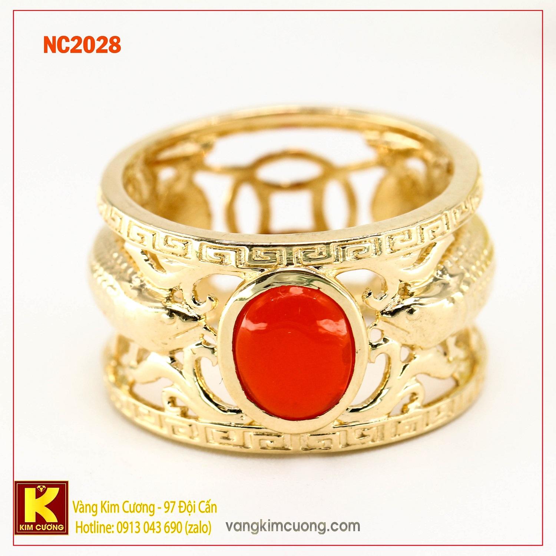 Nhẫn nam đá quý ruby phong thủy 16k NC2028
