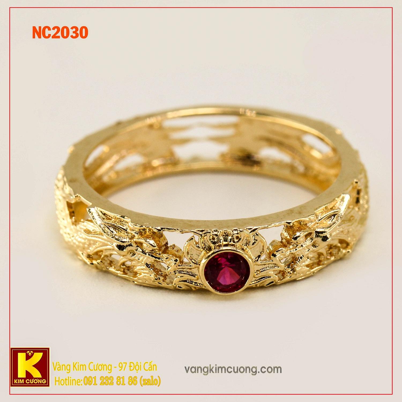 Nhẫn nam đá quý ruby phong thủy 16k NC2030