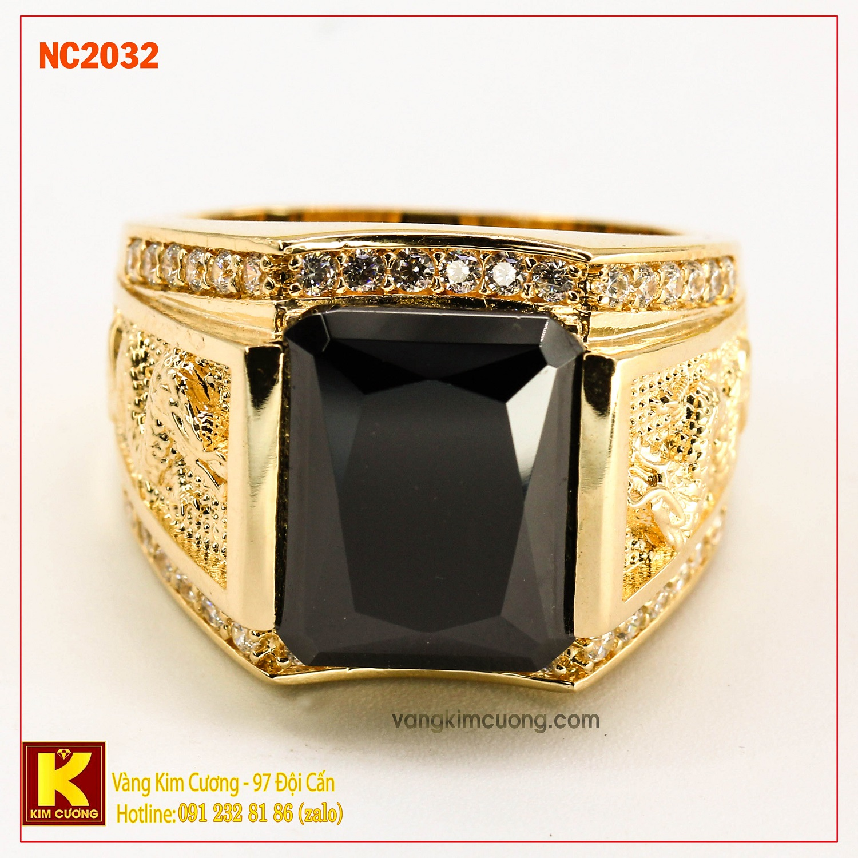 Nhẫn nam đá quý Sapphire phong thủy 16k NC2032