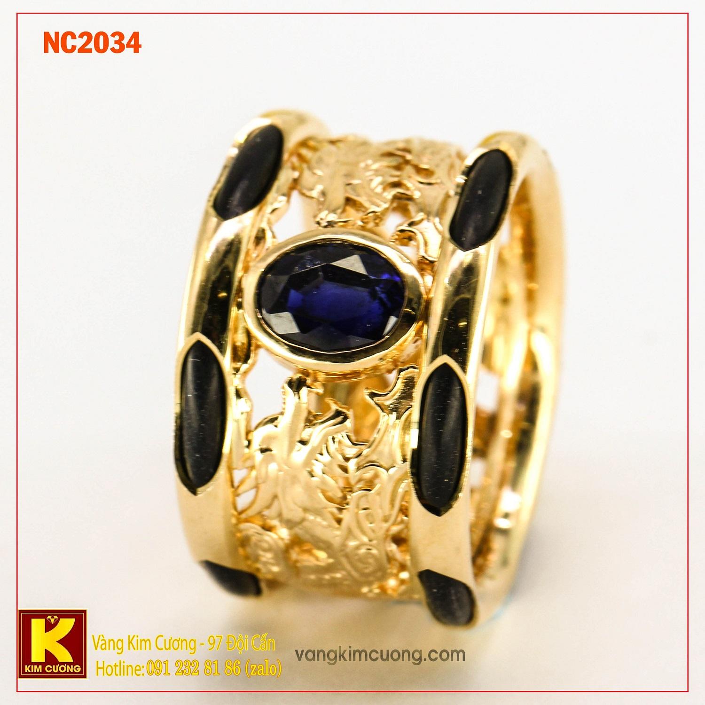 Nhẫn nam đá quý Sapphire phong thủy 16k NC2034