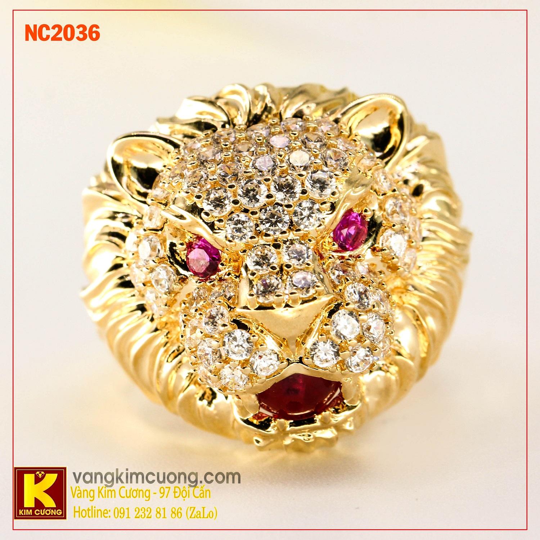 Nhẫn nam đá quý ruby phong thủy 16k NC2036