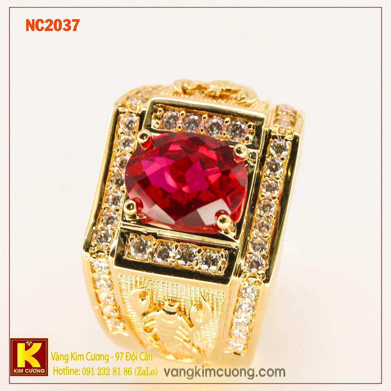 Nhẫn nam đá quý ruby phong thủy 16k NC2037